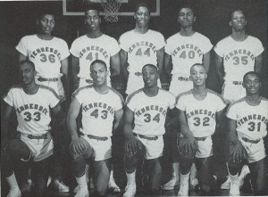 The men's basketball team (pictured) from TSU won their second NAIA championship in 1958. The team went on to win a unprecedented third straight championship in 1959.