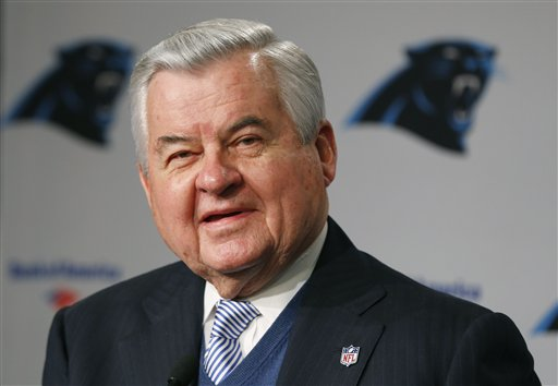 Carolina Panthers owner Jerry Richardson speaks during a news conference for the NFL football team in Charlotte, N.C., Tuesday, Jan. 15, 2013. The team introduced new general manager Dave Gettleman. (AP Photo/Chuck Burton)
